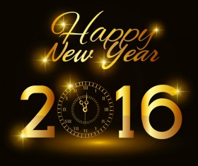 2016 new year with gold clock vector material