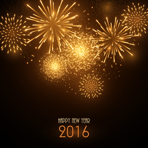 2016 New Year With Golden Fireworks Vector Free Download