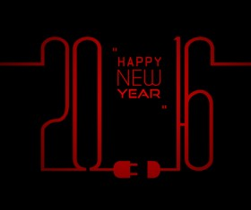 2016 new year with red line vector material