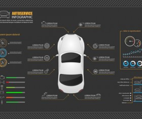 Auto service infographics vector material 02