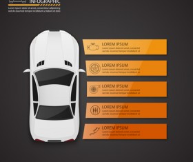 Auto service infographics vector material 03