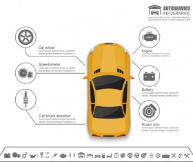 Auto service infographics vector material 05
