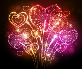 Beautiful fireworks with heart vector 01
