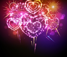 Beautiful fireworks with heart vector 02