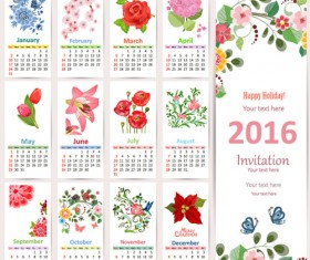 Beautiful flower with 2016 calendars vector