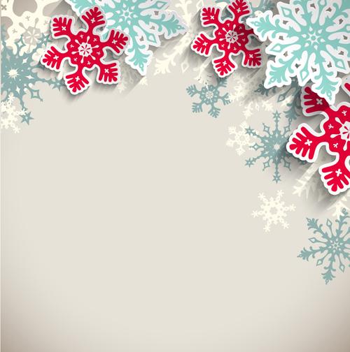 Beautifule Paper Snowflake Christmas Vector Background 04