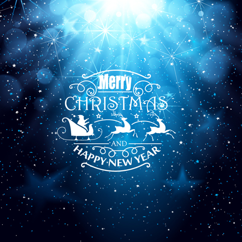 Blue Christmas and New Year greeting card vector free download