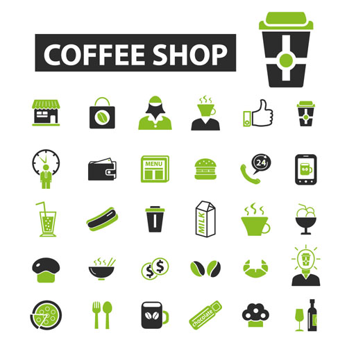 Business icons black with green vector 02