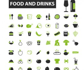 Business icons black with green vector 04