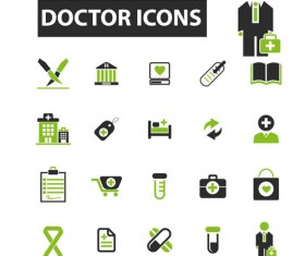Business icons black with green vector 08