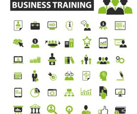 Business icons black with green vector 10