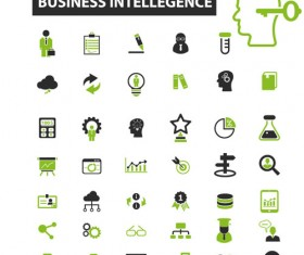 Business icons black with green vector 11