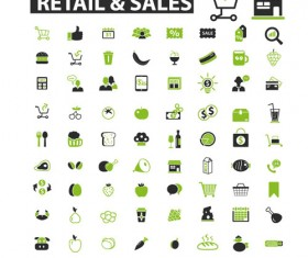 Business icons black with green vector 14