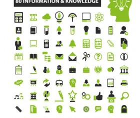 Business icons black with green vector 15