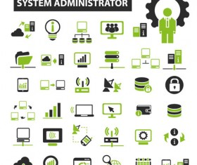 Business icons black with green vector 16