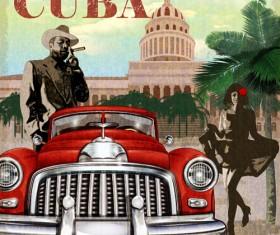 Car vintage poster design material vector 01