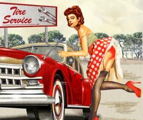 Car vintage poster design material vector 03