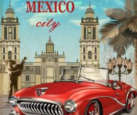 Car vintage poster design material vector 04