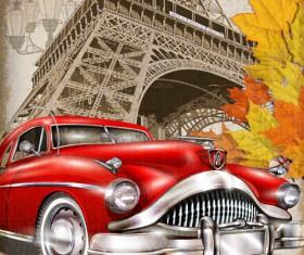 Car vintage poster design material vector 05