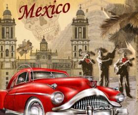 Car vintage poster design material vector 06