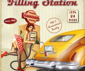 Car vintage poster design material vector 07