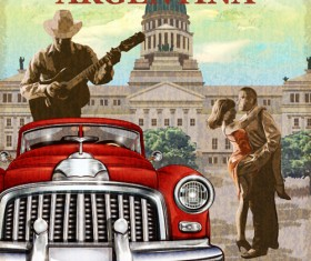 Car vintage poster design material vector 09