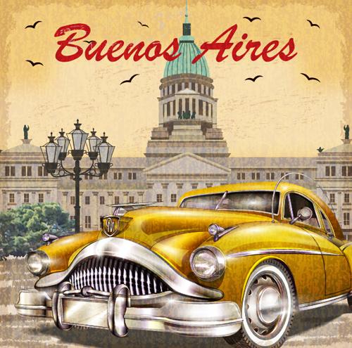 car vintage poster design material vector 11