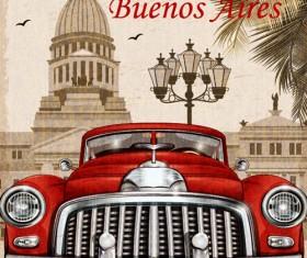 Car vintage poster design material vector 12