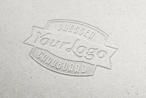 Cardboard logos template psd material