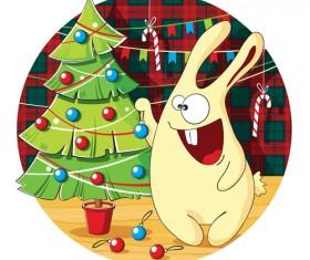 Cartoon bunny decorates with christmas tree vector