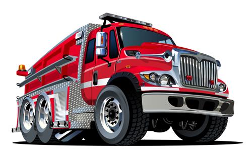 cartoon fire truck vector material 03 - vector car, vector cartoon