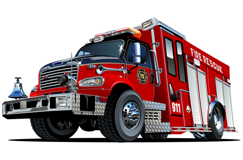 cartoon fire truck vector material 05 - vector car, vector cartoon
