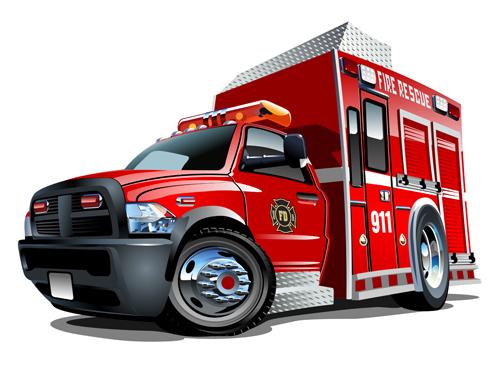 cartoon fire truck vector material 06 - vector car, vector cartoon