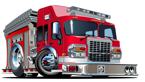 cartoon fire truck vector material 08 - vector car, vector cartoon