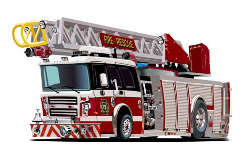 cartoon fire truck vector material 12 - vector car, vector cartoon
