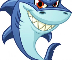 Cartoon funny shark vector material 08