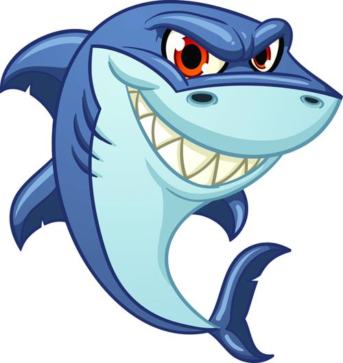 Cartoon funny shark vector material 08