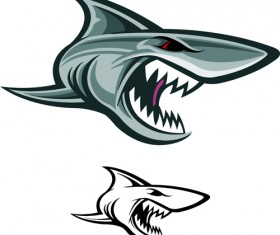 Cartoon funny shark vector material 09