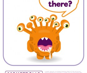 Cartoon madness monster with text box vector 01