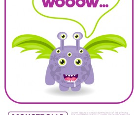 Cartoon madness monster with text box vector 03