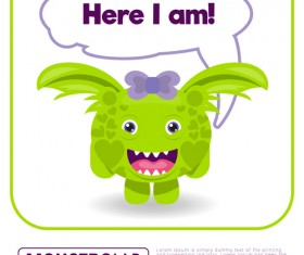 Cartoon madness monster with text box vector 09