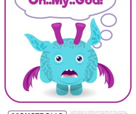 Cartoon madness monster with text box vector 10