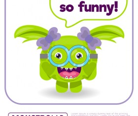 Cartoon madness monster with text box vector 15