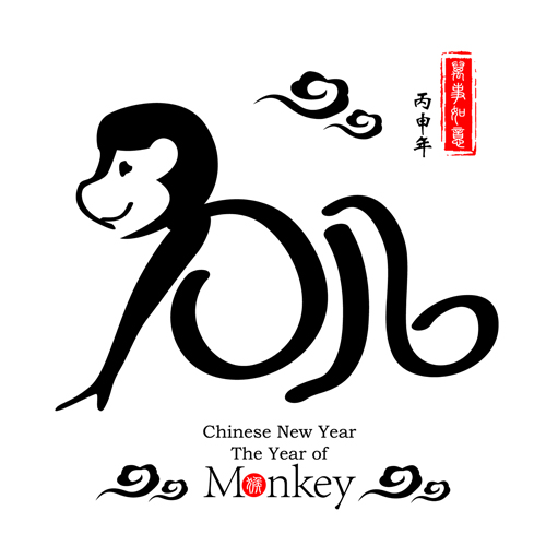 chinese 2016 new year with monkey year creative vector 01 - Chinese New Year Year Of The Monkey