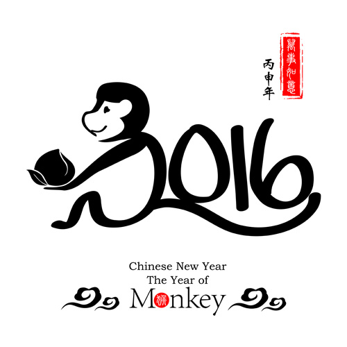 Free EPS file Chinese 2016 new year with monkey year creative vector ...