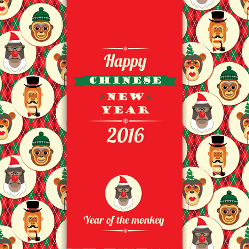 chinese new year of monkey card vector 02 - Chinese New Year Of The Monkey