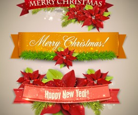 Christmas banners with red flower vector