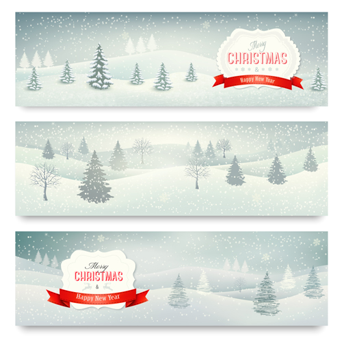 Christmas banners with winter snow vector set 01 - Vector ...