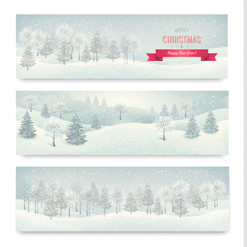 Christmas banners with winter snow vector set 04 - Vector ...