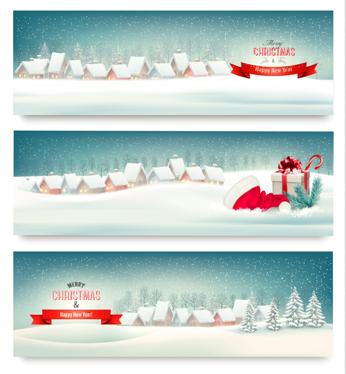 Christmas banners with winter snow vector set 09 - Vector ...